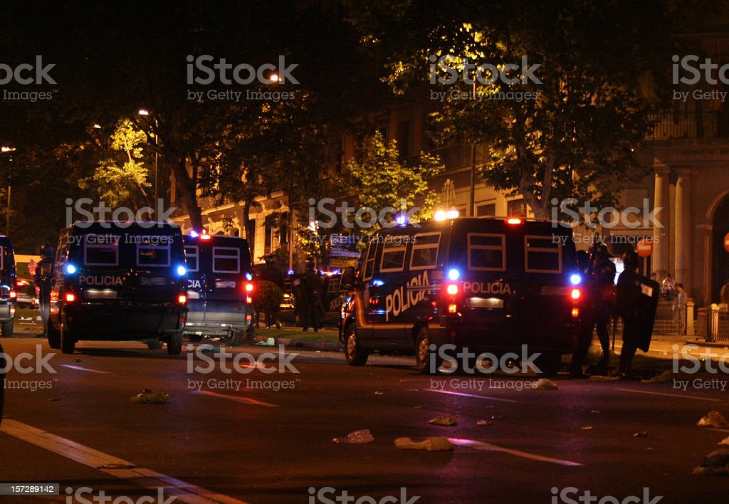 police cars in the night stock photo