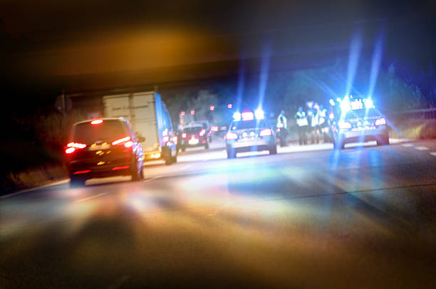 Police cars on highway at night – Foto