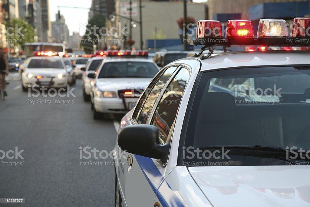 Police Cars On Street stock photo