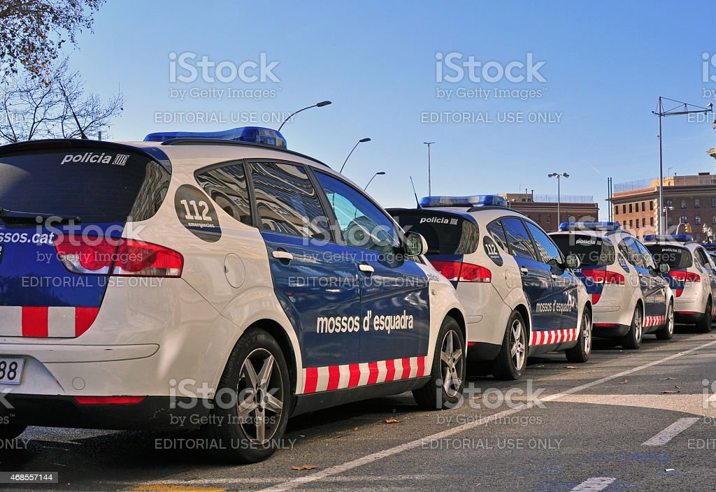 Police cars on the street of Barcelona stock photo