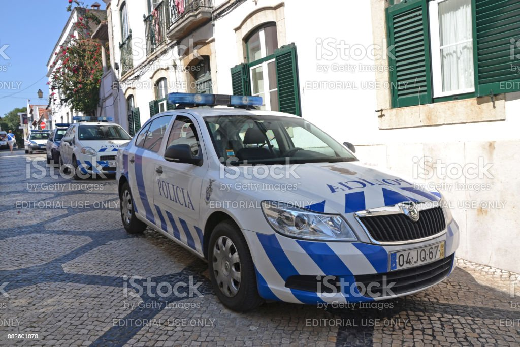 Police cars on the street stock photo