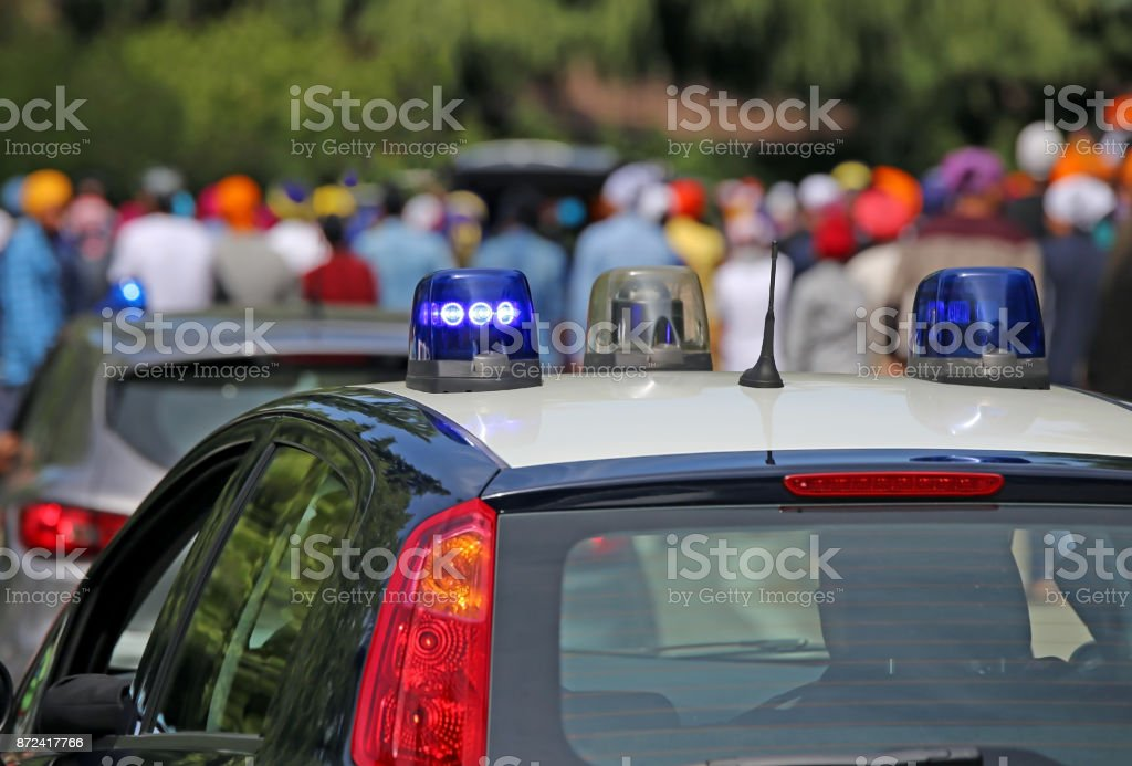 Police cars on the streets of the city stock photo
