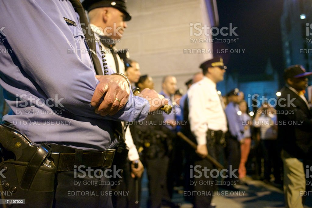 Police Clash with Protesters stock photo