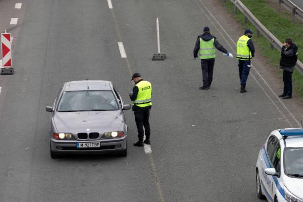 Police control the entrance of Sofia, the capital of Bulgaria stock photo
