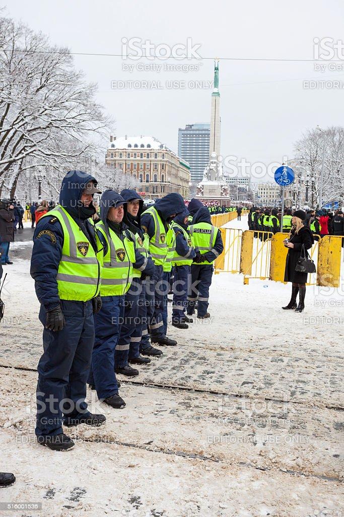Police cordon near Freedom monument in Riga stock photo