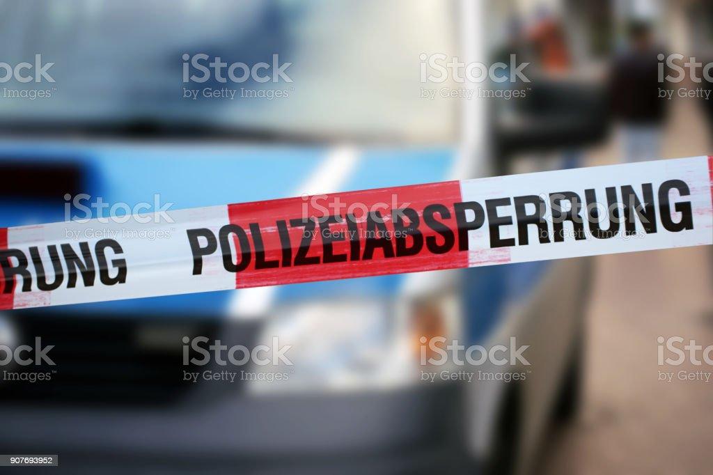Polizei sperren Band mit dem deutschen Wort