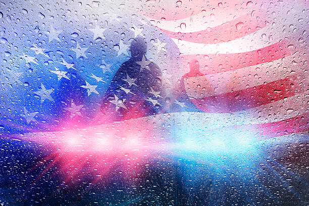police crime scene with lights and raindrops and american flag - first responders 個照片及圖片檔