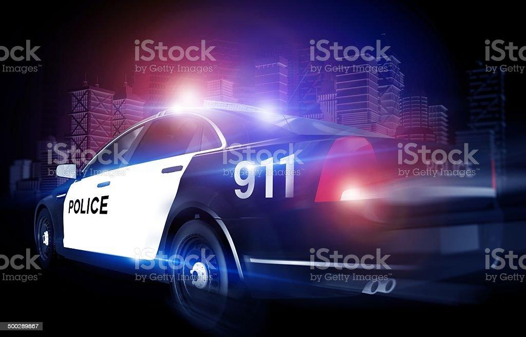 Police Cruiser in Rush stock photo