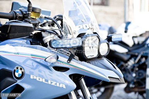 Padua, Italy - March 24, 2019. Italian Police motorbike  in public way in Padua during security activity. Italian Police has BMW F800 as patrol motorbike for public aid and security activity. Day shot.