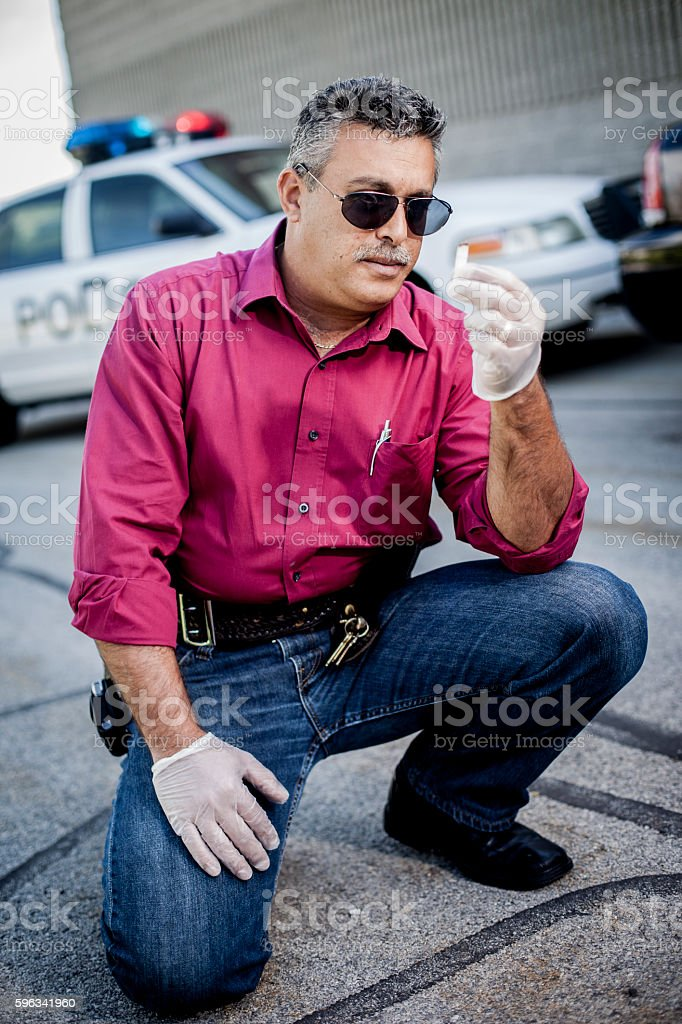 Police Detective at Crime Scene royalty-free stock photo