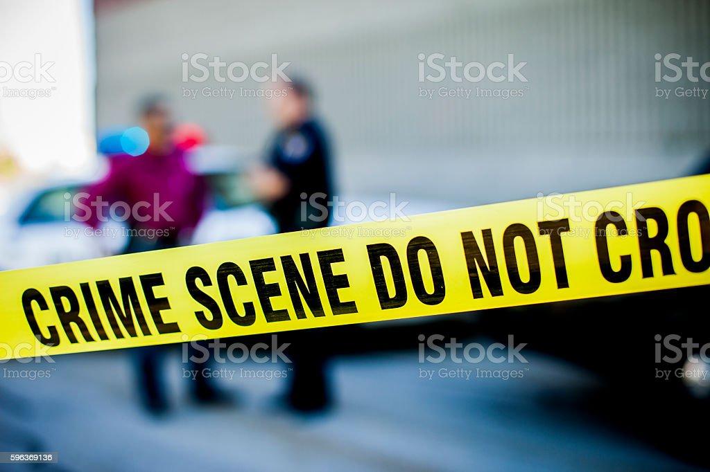 Police Detectives at Crime Scene stock photo