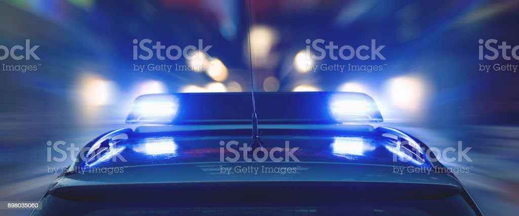 Police drive at high speed stock photo