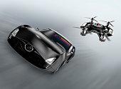 Police drone chasing black car for speed over. Original design.