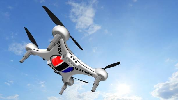 Polizei Drone Quadrocopter fliegt in den blauen Himmel - autonome Verkehrsüberwachung – Foto