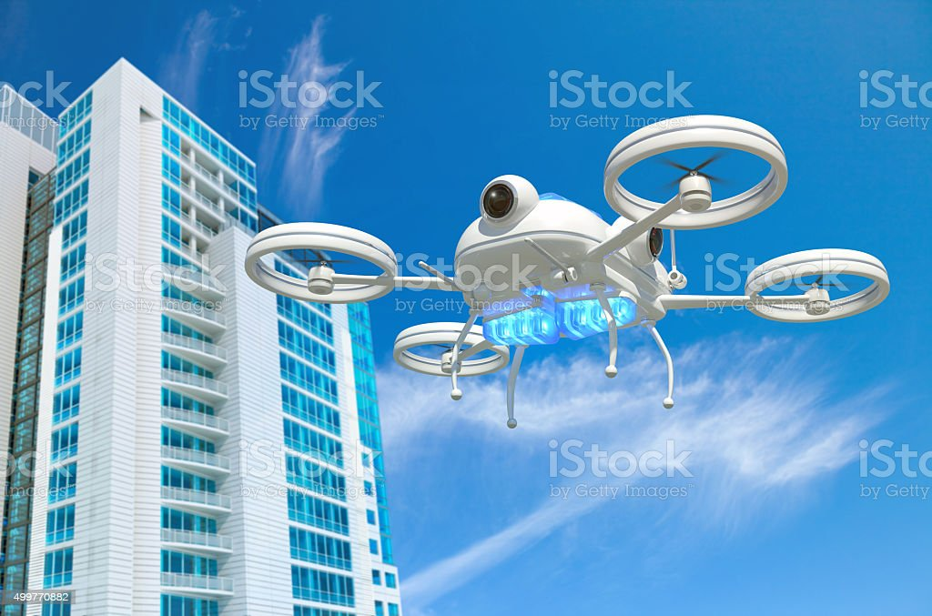 Police drone simulation with blue emergency lights flying near a...