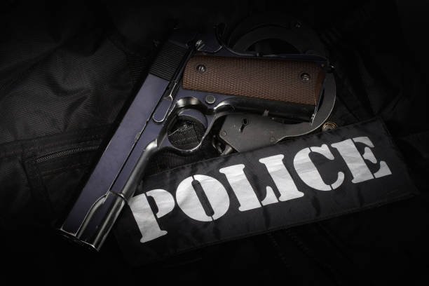 Police equipment on black background Police equipment on black background police uniform stock pictures, royalty-free photos & images
