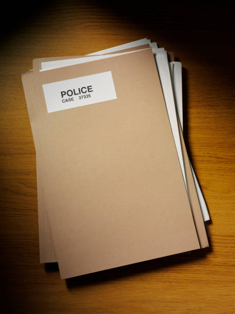 police files on the desk with copy space - murder mystery stock photos and pictures