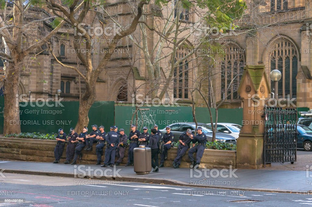 Police forces near Town Hall, Sydney CBD stock photo