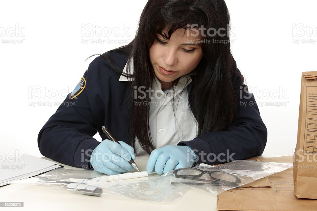 Police forensic detective documents evidence stock photo