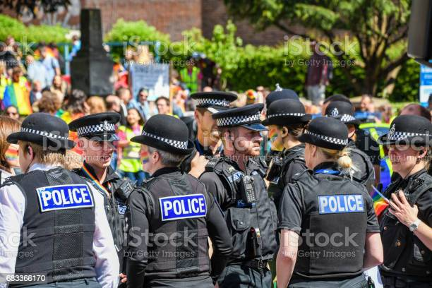 Police Gather For Exeter Pride With Rainbow Face Paint Stock Photo - Download Image Now