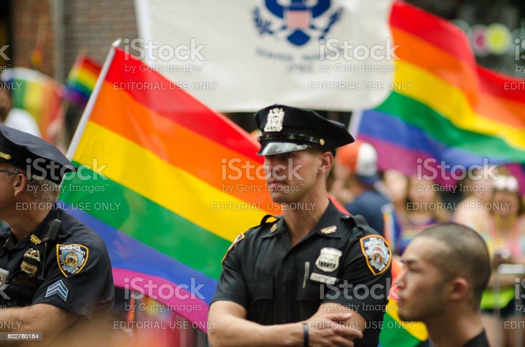 Police Gay Pride Parade New York City royalty-free stock photo