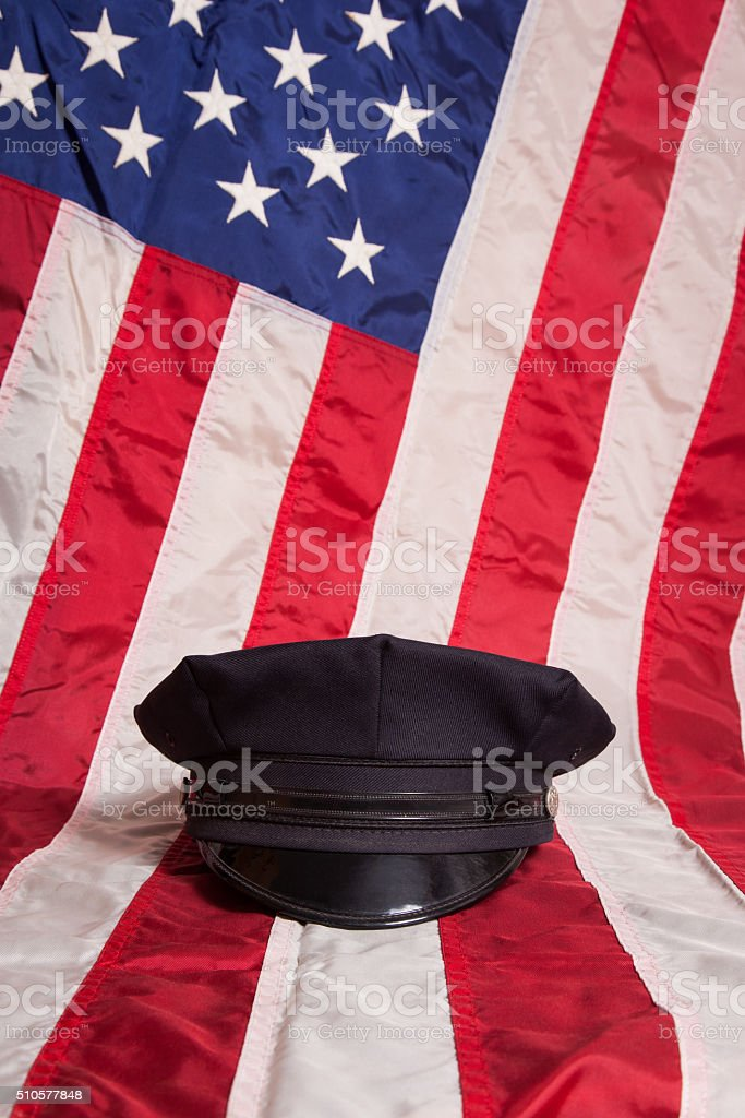 Police Hat with Flag stock photo