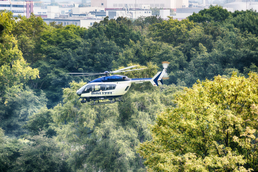 Frankfurt, Germany - July 06, 2019: The top view of a police boat on patrol on the River Main on July 06, 2019 in Frankfurt.\