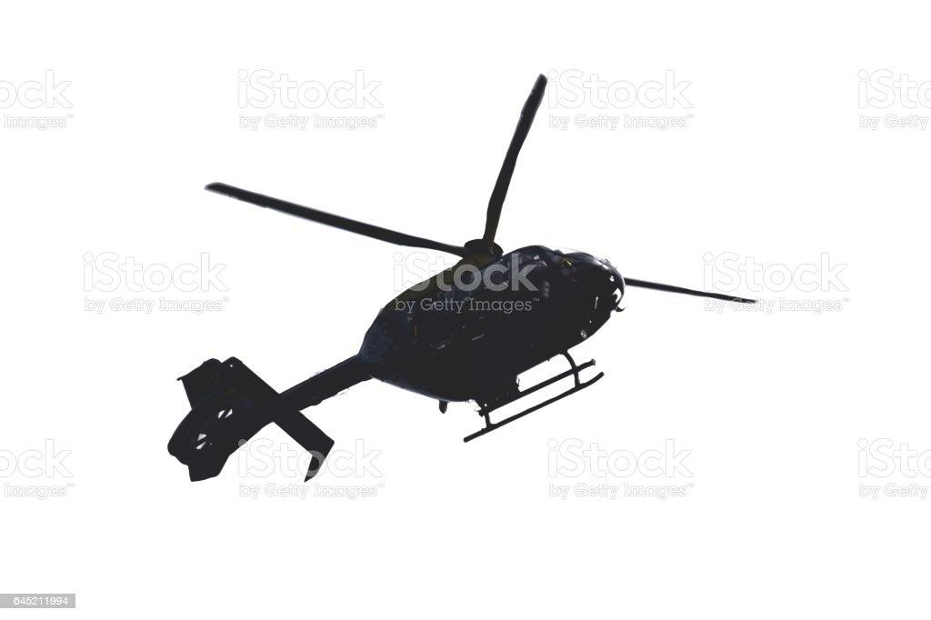 police helicopter plane flying overhead stock photo