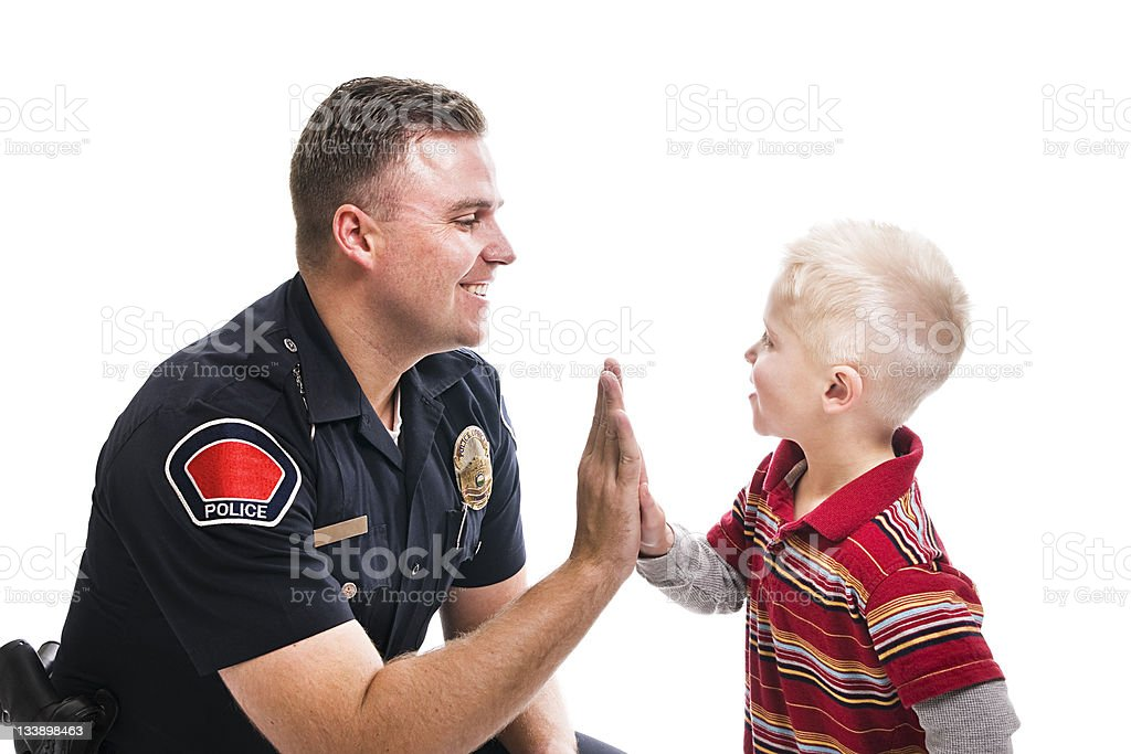 Police High Five royalty-free stock photo