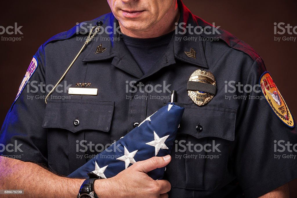 Police Honoring a Slain Officer stock photo