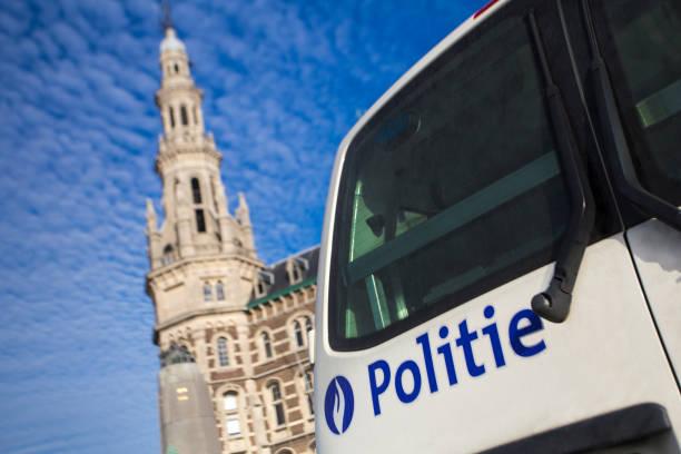 Police in Belgium Police van in Antwerp, Belgium. belgium stock pictures, royalty-free photos & images