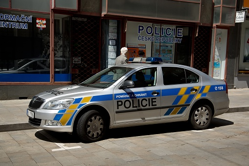 istock Police in Brno in the Czech Republic with police car 525034842