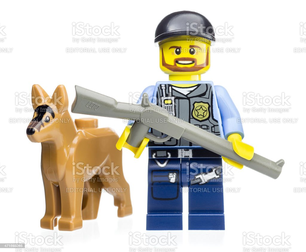 Police K-9 Unit Lego Mini Figures royalty-free stock photo