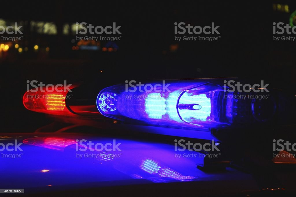 Police lights by night royalty-free stock photo