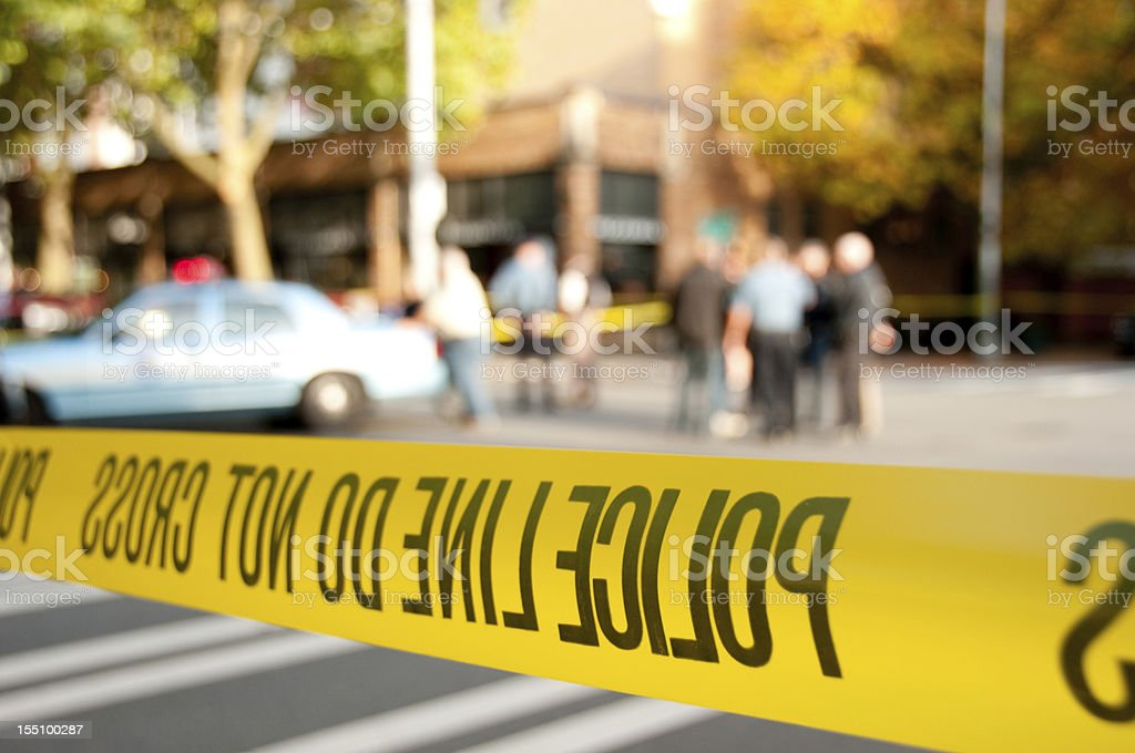 Police line at a crime scene royalty-free stock photo