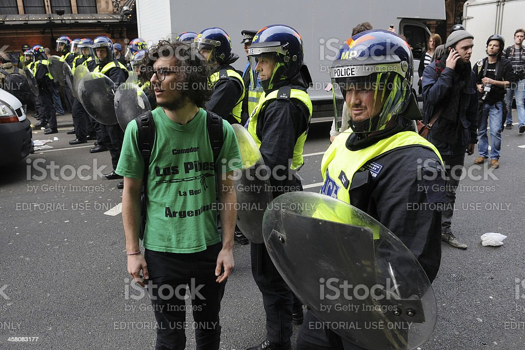 Police Line at an Austerity Protest in London royalty-free stock photo