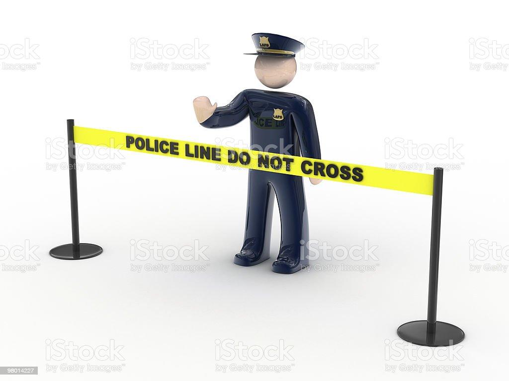 Linha de polícia não cruzar foto royalty-free