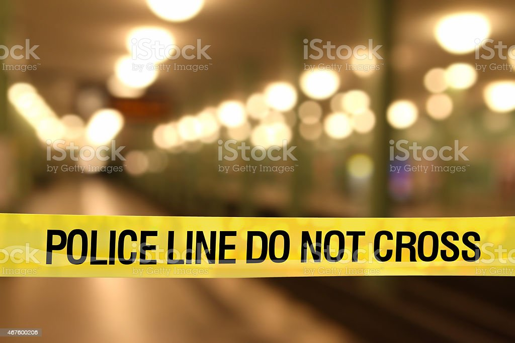 Police line do not cross: subway station with lights stock photo