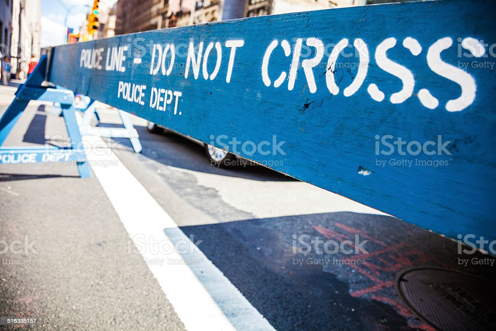 Police Line in New York downtown stock photo