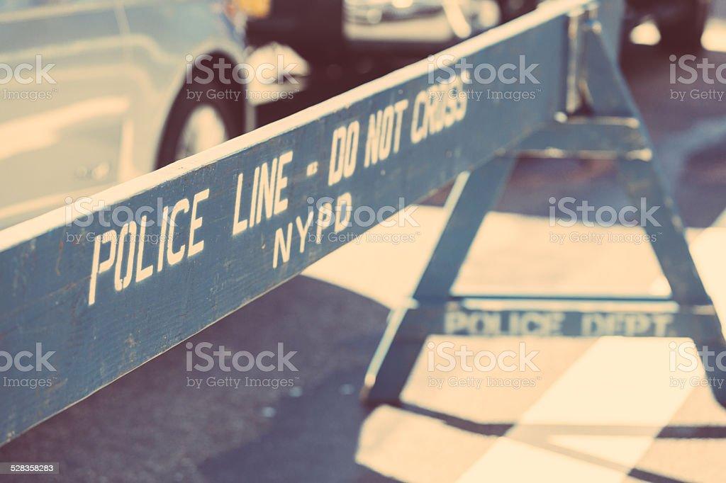 Police Line on the Crime Scene stock photo