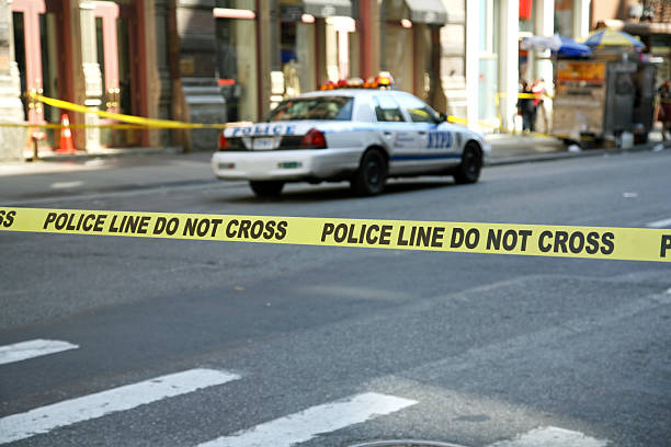 Police Line Tape stock photo