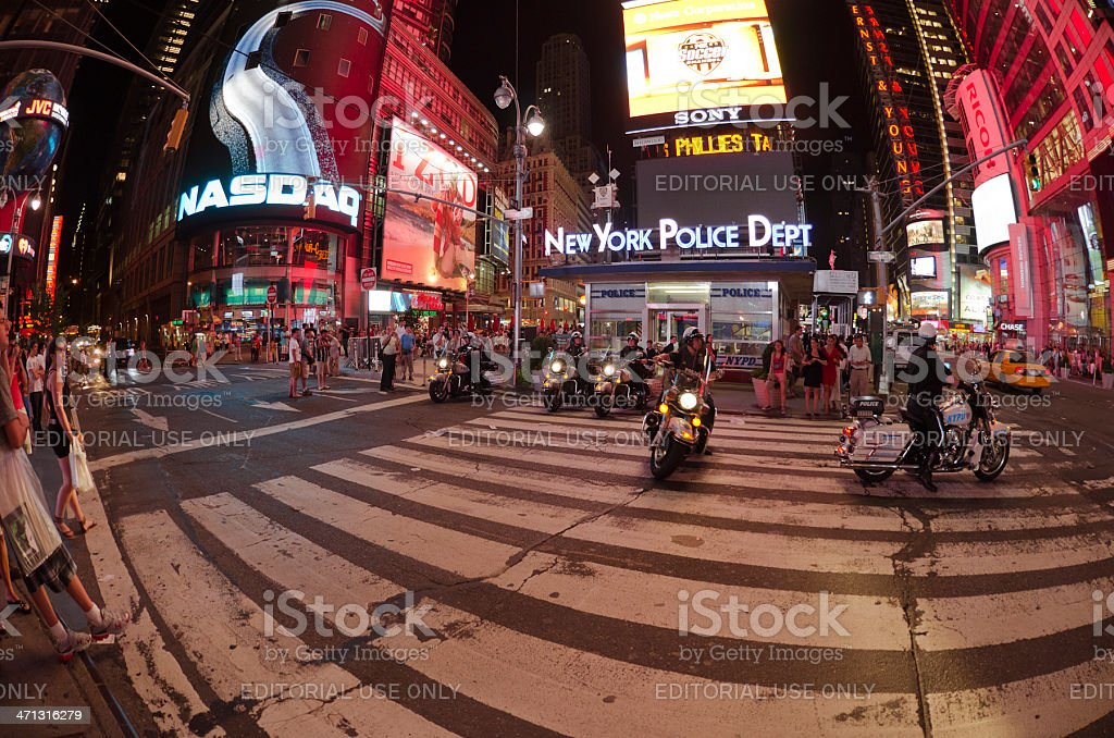 Police mens in row at Times Square. royalty-free stock photo