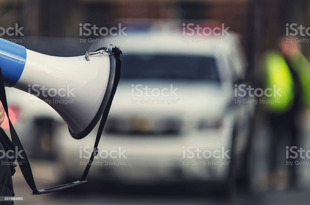 Police Monitor Protest stock photo