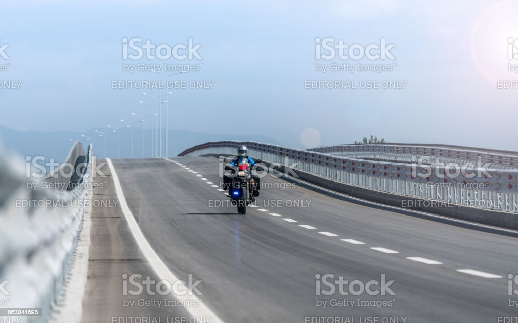 Police Motorbike on the road stock photo