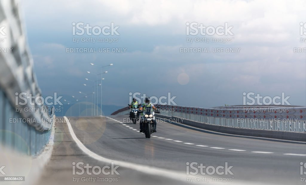 Police Motorbikes on the road stock photo