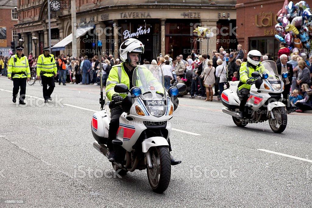 Police motorbikes stock photo