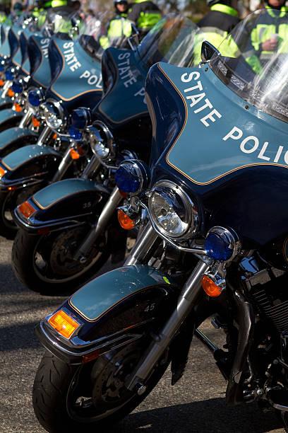 police motorcycles lnear start line of the boston marathon - boston marathon stock photos and pictures