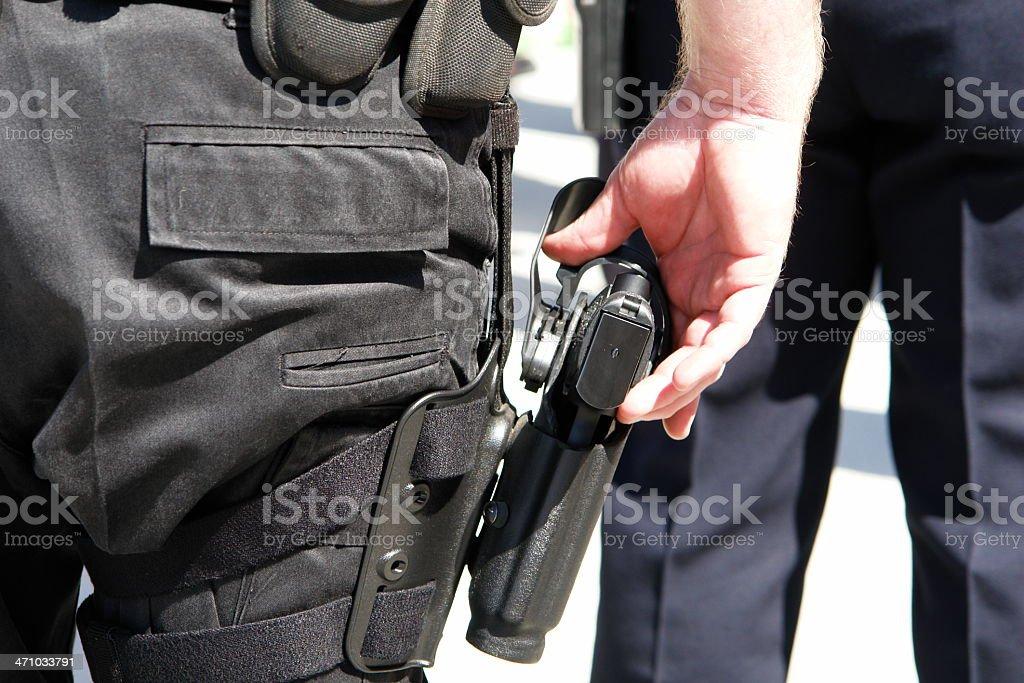 SWAT Police Officer 9mm Gun stock photo