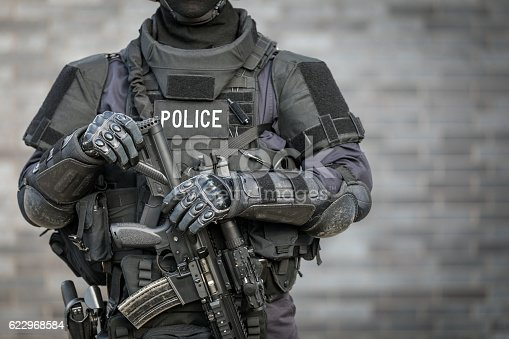 istock SWAT Police Officer Against Brick Wall 622968584