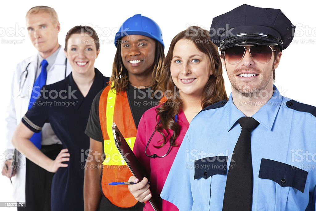 Police Officer and other workers lined up, Isolated on White royalty-free stock photo